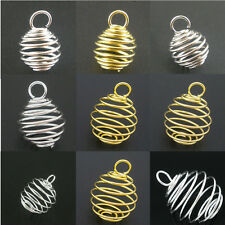 50 DIY Charm Pendants Breloque Spiral Spring Bead Cage Jewelry Making Findings