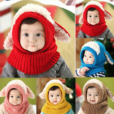 Winter Beanie Baby Kids Boy Girl Warmer Hat Hooded Scarf Earflap Knit Wool Cap