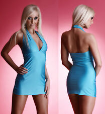 Sexy Halter Neck Mini Dress Strass Clubwear Gogo Dress neon in 6 colors S M M L