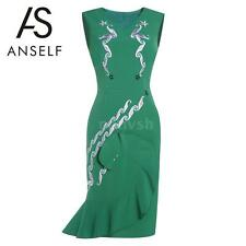 Bodycon Women Embroidery Dress Sleeveless Back Zipper Ruffle Hem Anself A7T0
