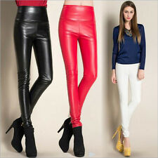 AU Women's Sexy Slim Fit Skinny Stretch Pants Faux Leather High Waist Leggings