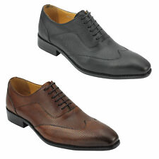 Men Black Brown Perforated Real Leather Smart Lace up Oxford Shoes 6 7 8 9 10 11