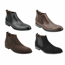 Mens Italian Style Suede Leather Slip On Ankle Boots Smart Casual Chelsea Dealer