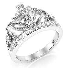925 Sterling Silver Cubic Zirconia Princess Cross Crown Tiara CZ Band Ring