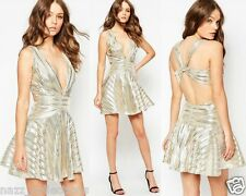 METALLIC PLUNGE CROSS OPEN BACK SKATER PROM PARTY HOLIDAY EVENING DRESS UK 6-14