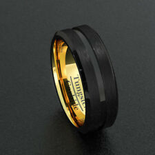 Mens Wedding Bands 8mm Tungsten Rings Black Beveled Edge Gold Inner Comfort Fit
