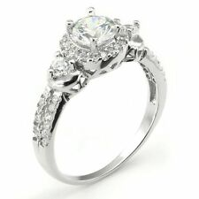 Sterling Silver Cubic Zirconia 3.5 Carat tw 3 Round Stone CZ Bridal Engagement