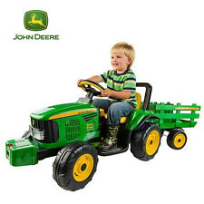 John Deere Fun Farm Power 12v Ride On Tractor with Trailer