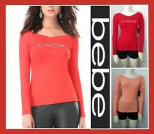 bebe LOGO DOUBLE V-NECK LONG SLEEVE RIB TEE SHIRT WOMEN SEXY TOP BLOUSE (NEW)