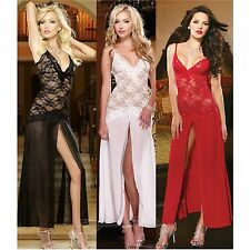 Womens Lace See through Lingerie Nightgown Sexy Long Gown Babydoll Nighty Dress