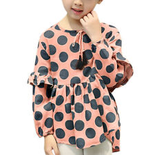 Girls Layered Sleeves Polka Dots Pleated Tunic Blouse