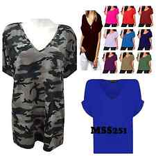 Ladies Baggy Camouflage Top Ladies Turn Up Loose Batwing Oversized Tee Size 8-26