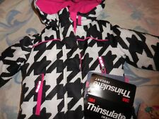 nwt Cherokee black white pink 3 in 1 hooded jacket girl 12 m 18 m 2T free ship