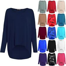 Womens Ladies Oversize Layering Lagenlook Baggy Off Shoulder High Low Jumper Top