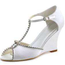 MC-032 Peep Toe Sandals T-strap Rhinestone Party Buckle Wedge Satin Bridal Shoes