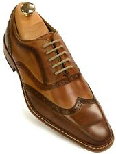Giorgio Brutini Mens Leather Two Tone Tan Brown Wing Tip Business Oxford Shoe