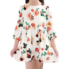 Girl 3/4 Sleeves Floral Print Pleated Tunic Dress