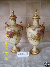 Royal Worcester Blush Ivory Large Twin Handled Urns Fabulous Item Circa 1901