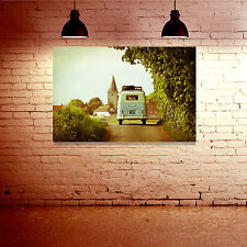 VW Camper Van - Ready To Hang - Large Framed Canvas Print - Great Gift