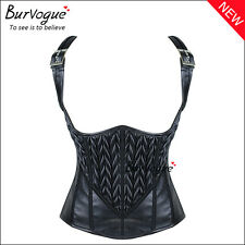 Women Gothic Zipper Leather Waist Training Cincher Steampunk Underbust Corset