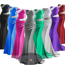 New Stock Satin Formal Prom Party Ball Gown Evening Bridesmaid Dress Stock  6-20