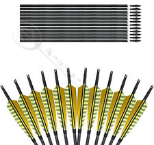 5'' Yellow Streak Parabolic Feather Mix Carbon Arrow Screw Tips Archery Arrows