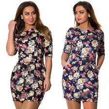 Women Middle Sleeve Floral Bodycon Evening Party Plus Size Summer Belted Dress