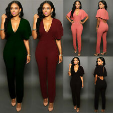 Sexy Women V Neck Batwing Bodycon Jumpsuit Romper Playsuit Bandage Pant Clubwear