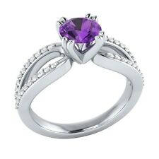 0.80ct Real Purple Amethyst & Certified Diamond Solid White Gold Engagement Ring