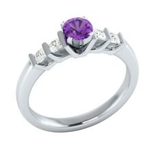0.72ct Real Purple Amethyst & Certified Diamond Solid White Gold Engagement Ring