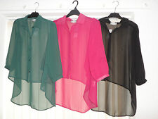 WOMANS LADIES LIGHTWEIGHT COOL SUMMER SHEER ELEGANT FLOATY BLOUSE TOP-3 COLOURS