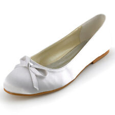 EP2135 White Ivory Women Flats Heel Round Toe Bow Satin Wedding Bridal Shoes