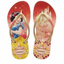 Havaianas Slim Girls Princess Snow White Golden Rubber Flip Flops All Sizes