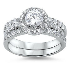 Sterling Silver 925 CZ Round Cut Halo Engagement Ring Band Wedding Set Size 5-10