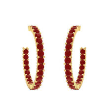 2.00 ct Natural Red Ruby Hoop Earrings Solid Gold Jewelry For Women