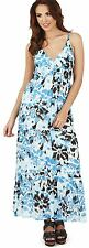 Pretty Ladies Aztec Print Wrap Over V Neck Strappy Maxi Dress, Pink or Blue