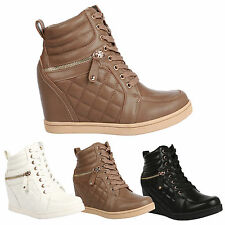 Misha Womens Hidden Wedges Heels Ladies Quilted Trainer Ankle Boots Shoes Size