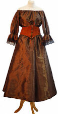 Les Mis-Victorian-Pirate-Ladies BROWN TAFFETA SKIRT BLOUSE LEATHER OR SASH BELT