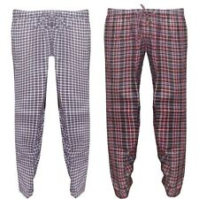 Mens Cotton Blend New Lounge Wine Checks Pants Pajamas Summer Nightwear Trousers