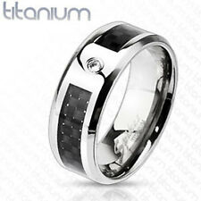 Titanium Mens CZ Black Carbon Fiber Comfort Fit Wedding Band Ring Size 9-13