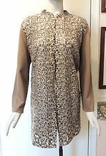 NWT $159 Chico's Leopard Mesh Duster Jacket, Soft Taupe, Size 2 (M - 12/14)