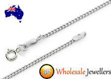 New 925 Italian Sterling Silver Solid Curb Unisex Pendant Necklace Chain Jewelry
