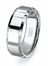 Mens Wedding Band Tungsten Ring Facets Straight Faceted Cut Tungsten Ring