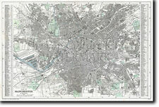 Historic Map of Manchester (England) c. 1890 Reproduction Photo Poster Print