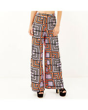 NEW River Island Square Print Wide Leg Palazzo Trousers Summer Holiday Size 6-14
