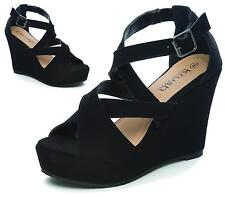 LADIES HIGH HEEL PLATFORM WEDGE ANKLE STRAP PEEP TOE WOMEN'S SANDALS SHOES SIZE