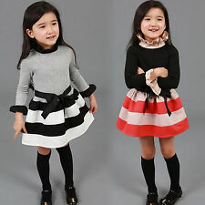 Baby Kids Toddlers Clothes Girls Princess Long Sleeves Striped Mini Dress Outfit