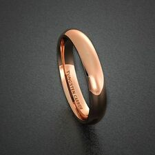 Mens Wedding Band 4mm Rose Gold Polished Tungsten Ring Dome Comfort Fit