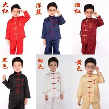 Chinese Boy's Kung Fu Shirt Pants Suit SZ 2-16 Black Blue White Red Burgundy
