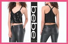 bebe AMANDA SEQUIN SWING TANK CROP TOP SHIRT WOMEN SEXY (NEW)